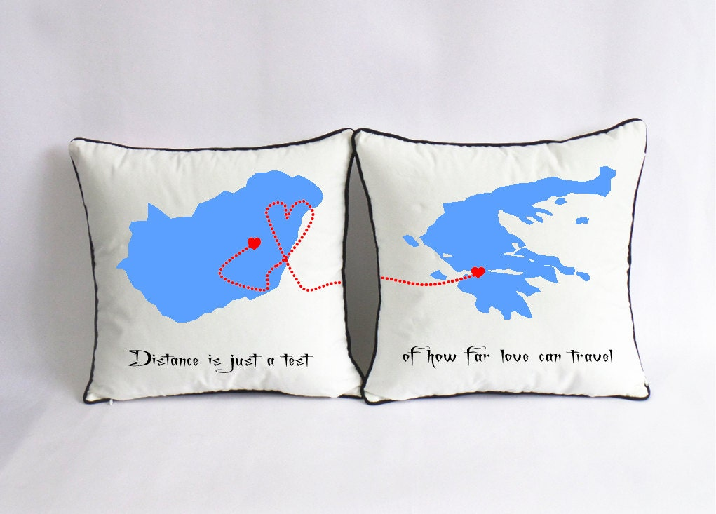 Custom long distance pillow case world map couple canvas zoom gumiabroncs Choice Image