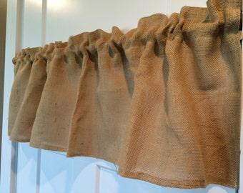 Burlap curtain Valance choose your sizes