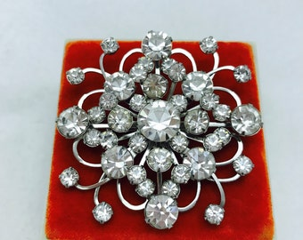 Vintage Costume Jewelry Clear Rhinestone Brooch