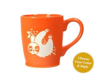 Sloth Mug - sleepy coffee cup - Choose Your Cup Color