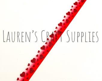 "Heart Ribbon   Valentine's Day Ribbon   Glitter Ribbon   Valentine Bow   Hair Bow Ribbon   US Designer Ribbon   7/8"" Ribbon   Grosgrain"