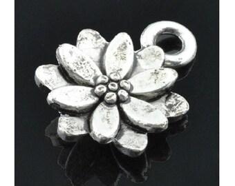 12 Little Lotus Flower Charms Silver Tone Small Lotus Blossom Mini Flowers Charm Jewelry 14.4 x 9.5 mm