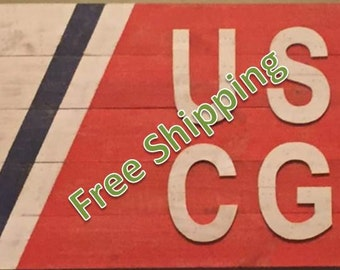 Rustic Unitied States Coast Guard Flag Constructed from Reclaimed/Repurposed Wood (Free Shipping)