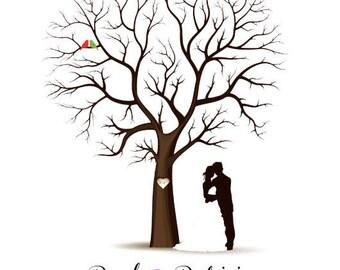 PDF Wedding Tree Guest Book - Fingerprint -  PDF FIle - any size