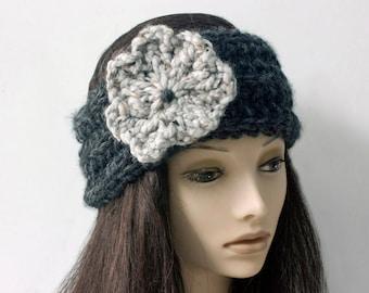 Knit Headband, Chunky Ear Warmer, Knit Flower HeadBand, Head Wrap, Winter Head Warmer, Custom Colors, Pony Tail Hat