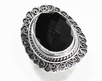 Sterling Silver Black Onyx Ring, Silver Ring, Black Onyx Ring,Black Onyx,Gemstone Ring,Side Carved,Oval,Black Ring .925 Sterling Silver Ring