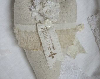 French Inspired Linen and Lace Paris Map Heart with Fabric French Text Tags, Tulle, FREE USA ship, Mother's Day Gift, Francophile Gift