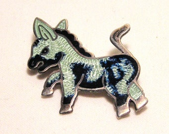 OBO - Jeronimo Fuentes JF Sterling Silver Enamel Donkey Pin Taxco Mexico