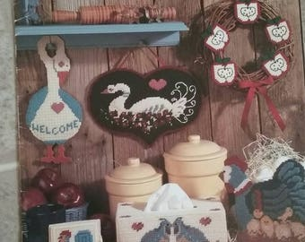 More Country Things, Plastic Canvas, Leisure Arts, Leaflet 1100, Coasters, Tissue Box, Welcome Wreath, Checkerboard and more, OFG