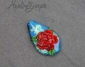 3D Rose, Red on Teal Blue...
