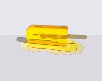Large Yellow Popsicle Sculpture - Unique Resin Art - Desk Decor-  Modern Sculpture