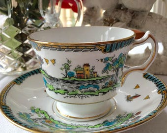 Stunning  English Bone China Cabinet  Teacup snd Saucer Hand Painted Asian Scene by Royal Stafford