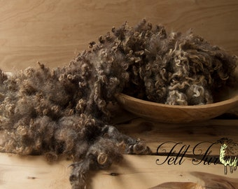 Natural Brown photo prop. Fluffy Curly Basket Filler Organically Felted Piece (447) RTS