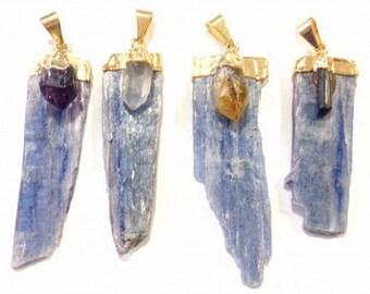 Blue Kayaniet with Point x gemstone Pendant