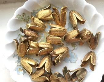 6 Large Magnolia Bead Caps, Vintaj Bead caps, Beadcaps, Leaf Bead caps, Brass Bead caps, Beading, Jewelry Supplies, Huge  #788