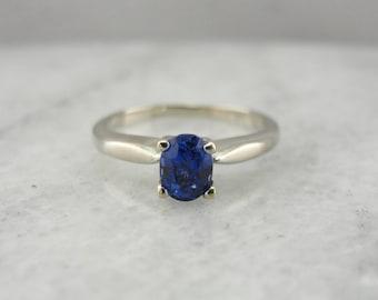Classic White Gold Sapphire Solitaire Engagement Ring, Cornflower Blue Ceylon Sapphire YK5M3T-P