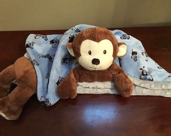 Animal Security Blanket Monkey Blue Grey Minky Lovey Buddy Cuddle Blanket
