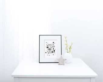 Wish upon a Star - Nursery Print - Children's Wall Art - Baby Nursery Decor - Moon & Stars - Black and White