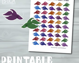 Betta Fish Stickers - Betta Planner Stickers - PRINTABLE .jpg/.pdf DIGITAL Fits your Erin Condren, Happy Planner and Others!