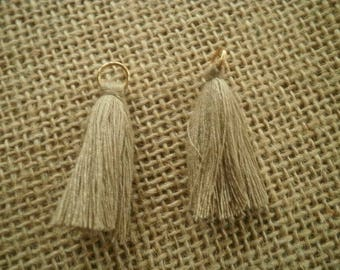Set of 2 tassels tassel with a ring, beige, size 4 cm