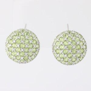 Peridot & Cubic Zirconia Earrings - Sterling Silver August Birthstone MQ1807
