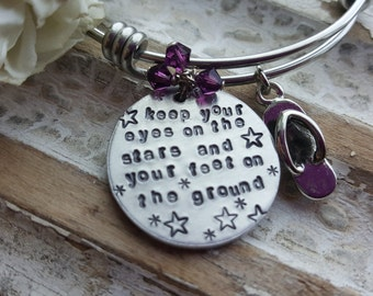 Personalized Stackable Bangle Style Bracelet - Keep your eyes on the stars and your feet on the ground - beach bracelet - summer bracelet
