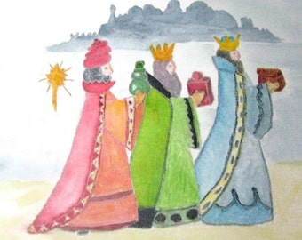 Three Wise Men Watercolor, Christmas Magi Painting
