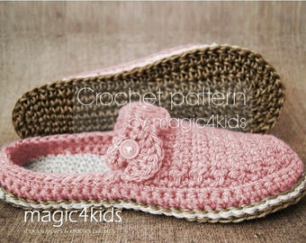 Crochet pattern - women slippers with jute rope soles,soles pattern included,women sizes,cord,twine,adult,girl,scuffs,clogs,loafers,shoes