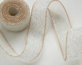 "1 yard 2cm 0.78""  wide ivory gold beads dress lace trim tapes ribbon qwe4di6 free ship"