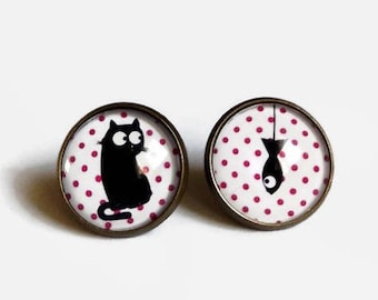 studs earrings Stud Earrings, yum yum! fish black white pink dots, glass cabochon