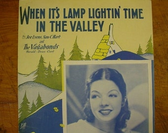 Sheet Music When It's Lamp Lightin Time In The Vally Sheet Antique Vintage Francis Langford Cover
