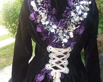 Goth jacket, steampunk, Black Velvet, upcycled, eco chic, witch, dark, fusion, beaded jacket, vampire,petals,size medium, women, Tim Burton
