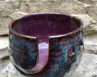 Purple and Mahogany Ceramic Yarn Bowl