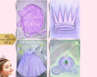 Princess Wall Art Custom Name SET OF 4 Art Prints, Princess Nursery Decor, Purple pink, Nursery Wall Art, Cinderella, Princess Kids Wall Art