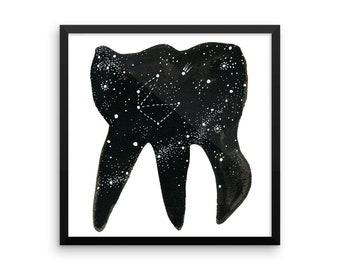Cosmic Tooth / FRAMED Art Print of Dental Watercolor
