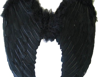 Halloween Large Black Feather Wing - Deluxe Real Feathers  HALLOWEEN