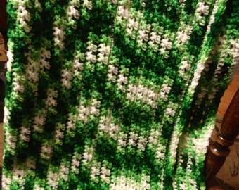 Handmade Crochet Green and White Baby Afghan