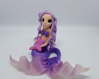 hand sculpted polymer clay mermaid