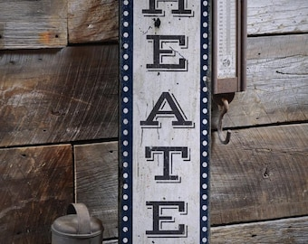 Movie Room Sign, Home Theater Sign, Vertical Theater Sign Wood Theater Sign, Home Theater Decor - Rustic Hand Made Wooden Sign ENS1000911