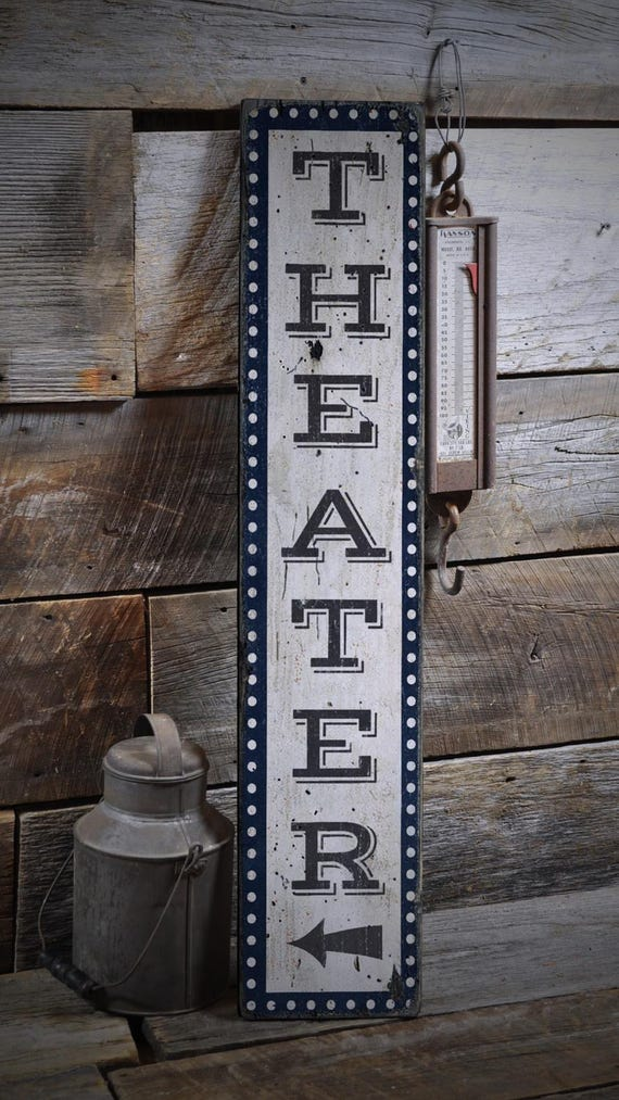 Movie Room Sign Home Theater Sign Vertical Theater Sign Wood
