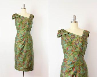 vintage 50s hawaiian floral dress / 1950s ALIX OF MIAMI wiggle dress / tropical dark floral dress / green floral print dress