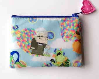 Disney Up zipper pouch, card wallet, makeup bag, pencil pouch, choose your size, handcrafted from Disney Up fabric