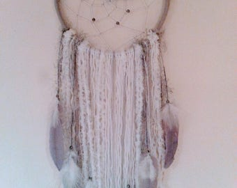 Handmade bohemian Dreamcatcher ,grey and white,home decor.