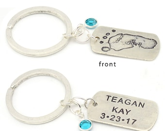 Custom Footprint Tag | Sterling Silver Tag | Custom Baby Print Tag | Personalized Key Ring | Keepsake Memento | Gift for Parent