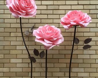 ROSE paper flower freestanding/paper flower wall/Wedding flower/christening decor/home styling/wedding centerpiece/window display/sweet16