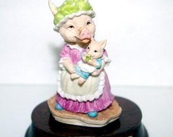 Mother Pig and Piglet Figurine, Heather Trotter, Little Nook Village, Signed Leonardo, Vintage 1989