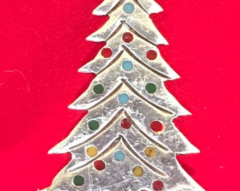 Sterling Silver Christmas Tree Brooch With Enamel Color Balls