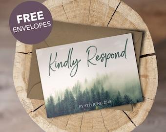 Woodland Forest Green Personalised Wedding RSVPs & FREE Matching Envelopes
