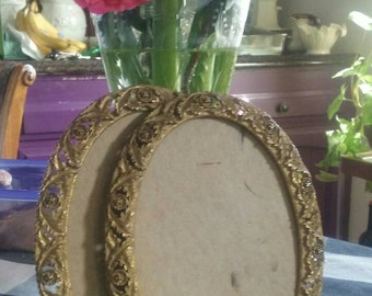 Gold Ormolu Picture Frames - Repousse - Romantic Wedding Frames - Oval Picture Frames