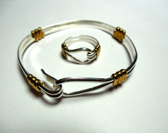 Heavy Silver and Brass Bracelet and Ring